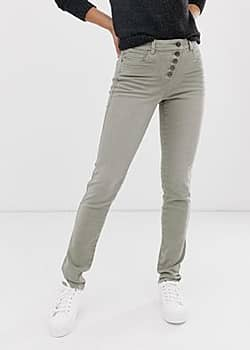 Esprit exposed 5 button skinny jean in khaki-Green