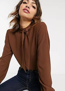 pussybow blouse in chocolate brown