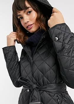 Esprit quilted coat with hood in black