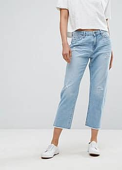 Esprit Straight Fit Distressed Jeans-Blue