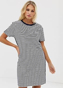 stripe jersey t-shirt dress in white and navy-Multi