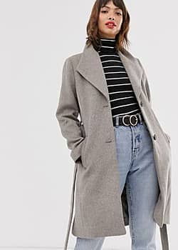 Esprit wrap coat with collar in grey-Purple