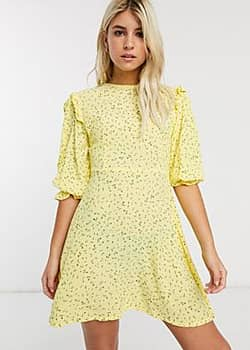 Faithfull the Brand Faithfull edwina floral mini shift dress with 3/4 sleeve-Yellow