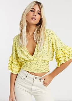 Faithfull gisele floral top with short sleeve-Yellow