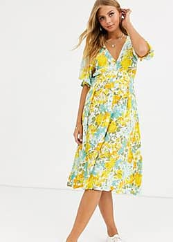 Faithfull the Brand Faithfull rafa midi floral print short sleeve dress-Yellow