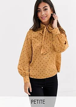 bow front blouse in yellow floral satin