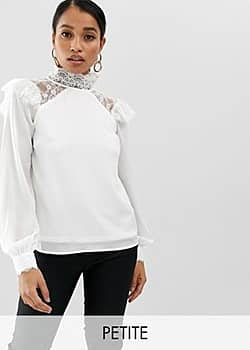 high neck long sleeve top with lace detail-White