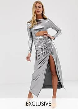 Fashionkilla cutout maxi dress with thigh split skirt detail in silver