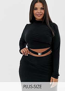 high neck crop top with buckle detail Co-ord in black