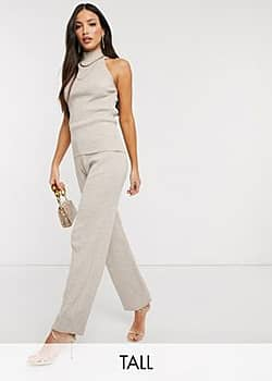 Fashionkilla knitted flare trouser co ord in oatmeal-Beige