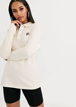 long sleeve polo top with chest logo in waffle-Cream