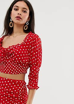 blossom rouched top-Red