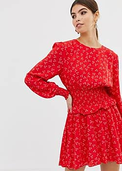 long sleeve flippy dress in ditsy print-Red