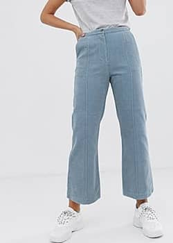 Clara kick flare cord trousers-Blue