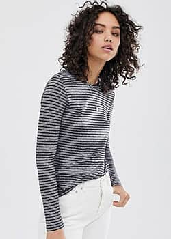 Fernbrook stripe long sleeved t-shirt-Grey