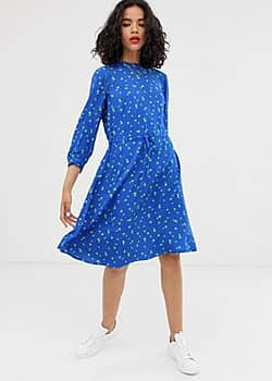 Lola floral print tie waist dress-Blue