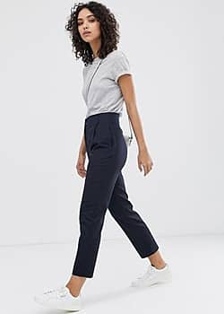 Finery Oliver linen blend trousers-Navy