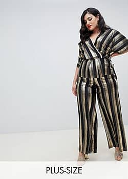 Flounce London wide leg trousers in gold metallic stripe-Black