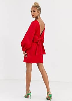 bow back mini dress in red
