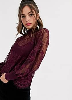 high neck lace top in berry-Red