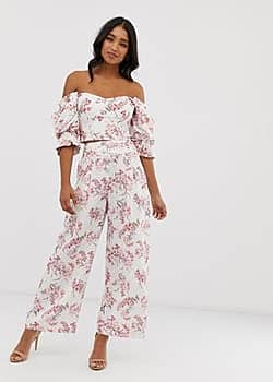 Forever New high waisted wide leg trousers in floral print co-ord-Multi