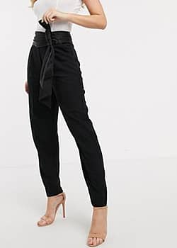 tailored trouser with bow detail in black