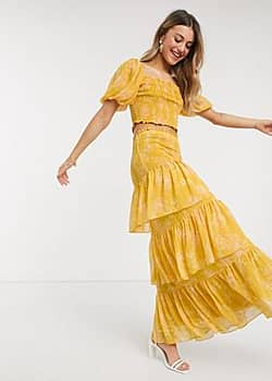 Forever New tiered ruffle maxi skirt co ord in mustard floral-Yellow