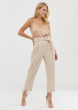 Forever New woven paper bag trousers-Pink