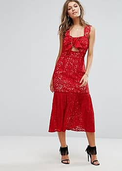 Foxiedox Bow Front Midi Lace Dress-Red