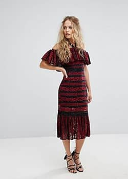 Cold Shoulder Midi Dress with Peplum Hem in Allover Lace-Red