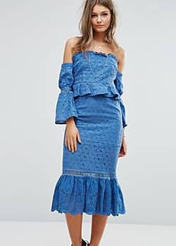 Off The Shoulder Midi Dress With Ruffle Details-Blue