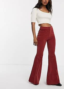 Free People Just Float cord flared trousers-Brown