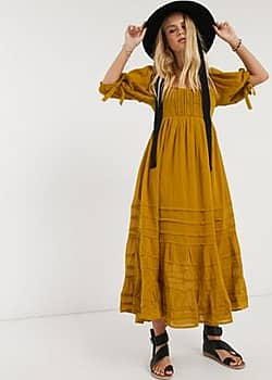 Free People lets be friends midi dress-Brown