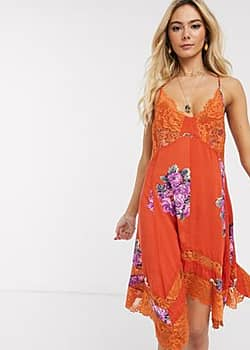 Free People table for 2 trapeze dress in multi-Black