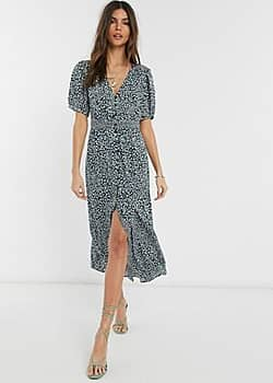 French Connection button front leopard print maxi dress-Green