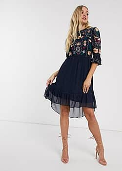 Frock & Frill 3/4 sleeve embroidered detail midi dress-Navy