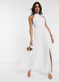 Frock And Frill Frock & Frill high neck beaded bridal dress in white