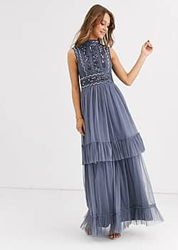 Frock & Frill high neck maxi dress with embellished detail-Blue
