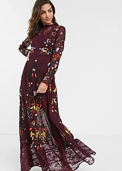 Frock & Frill long sleeve embroidered maxi dress