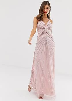 Frock & Frill twist front scatter sequin cami strap maxi dress-Pink