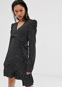 Gestuz Denice check print wrap mini dress with puff sleeves-Black