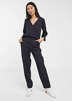Halia polka dot tailored trousers co-ord-Navy