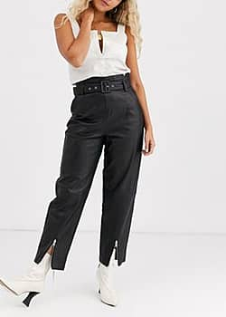 Gestuz Suri leather trousers with zip detail-Black