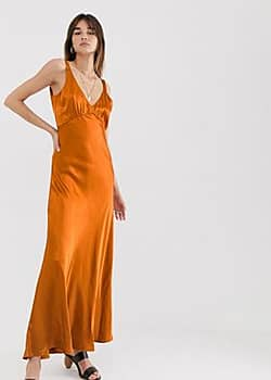 Gestuz Tilja satin maxi dress-Orange