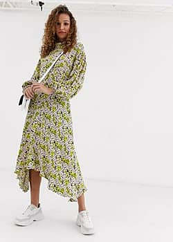 anais midi dress with balloon sleeve in crepe-Yellow