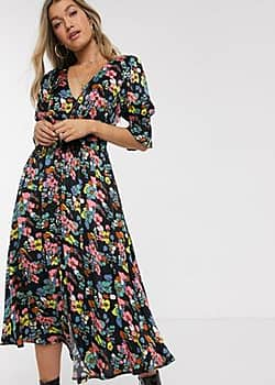 Anna retro floral midi dress-Black
