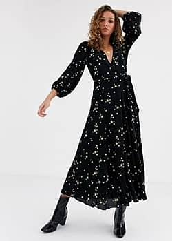 emilie maxi dress with star embroidery-Black