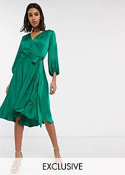 Ghost exclusive aggie satin midi wrap dress-Green