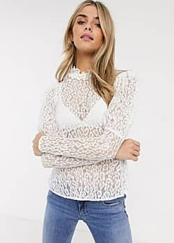 lecie lace top with puff sleeve-Cream