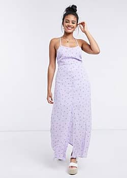 Gilli cami maxi dress with cross back detail in lilac floral-Purple